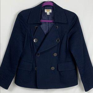 Talbots navy blue blazer size 10. Waffle material